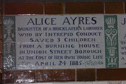 The plaque to Alice Ayres in Postmans Park in the City of London.