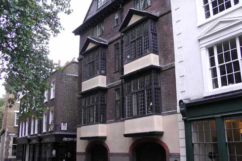 The old houses in Cloth Fair outside which the Secret London tour ends.