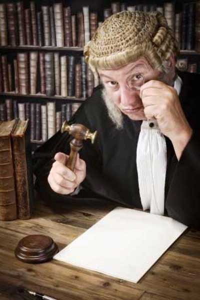 A wigged and robed barrister of the type we will see in abundance on our tour of the Inns of Court.