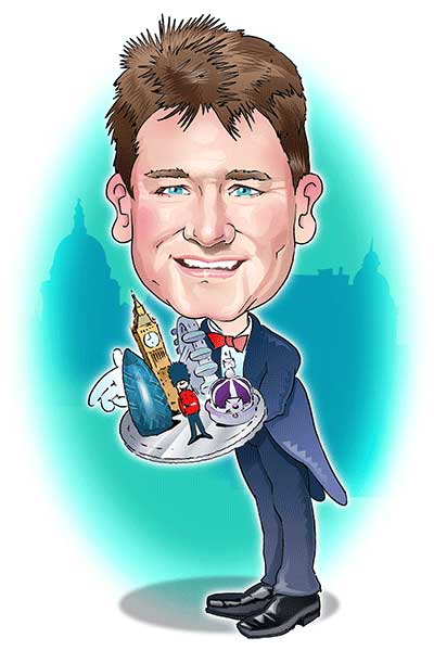 A caricature showing Blue Badge London guide Richard Jones holding a tray with London attractions on it.