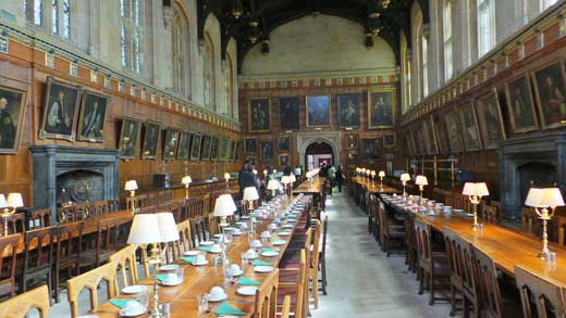 The dining hall at Christchurch, Oxford.
