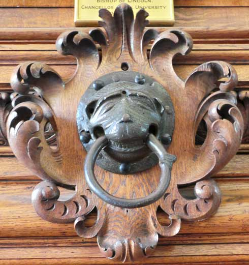 The Brazen Nose in the dining hall of Brasenose College.