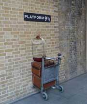 Platform nine and three quarters at King's Cross Station.