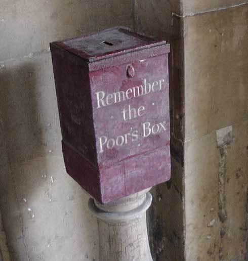 The Remember the Poors box at St Bart's Hospital.