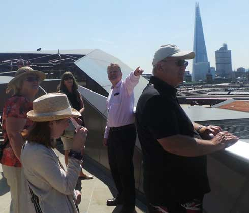 Richard Jones guiding a group on the rooftop of One New Change in the City of London.