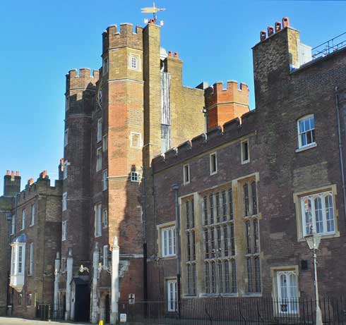 A view of the Tudor gatehouse of St James's Palace.
