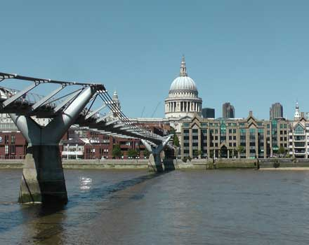 St Paul's Cathedral seen across the Millennium Bridge in London.