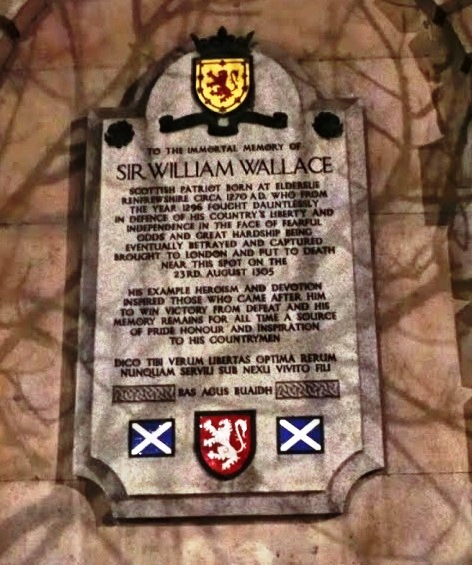 The memorial to Scottish Patriot Sir William Wallace in Smithfield, London.